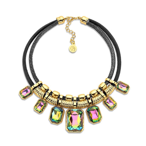 Cheap Gold and Green Crystal Statement Necklace
