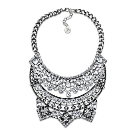 Cheap Silver-Plated Crystal Bib After Party Necklace