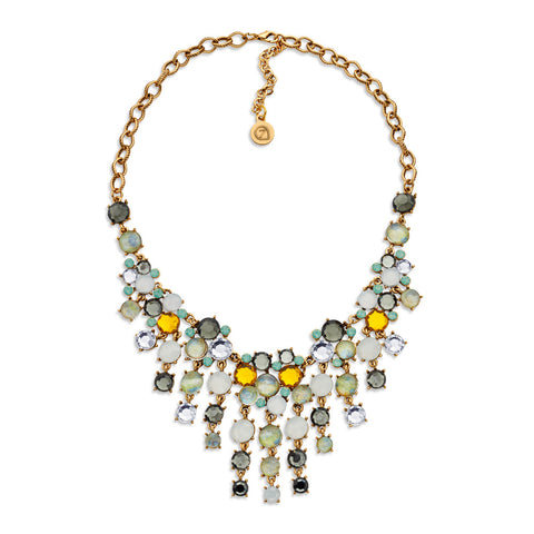 Yellow Crystal Fringed Necklace