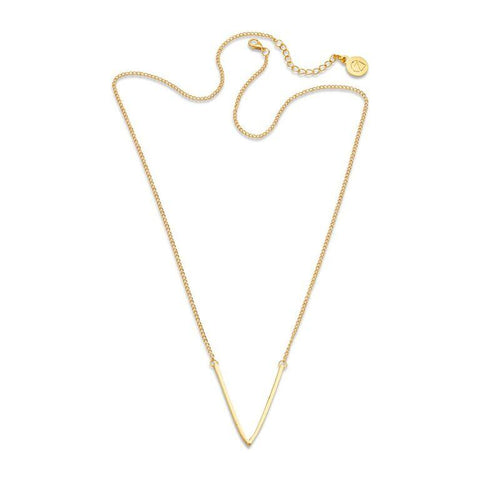 Gold V Triangle Wishbone Pendant Necklace | 7 Charming Sisters