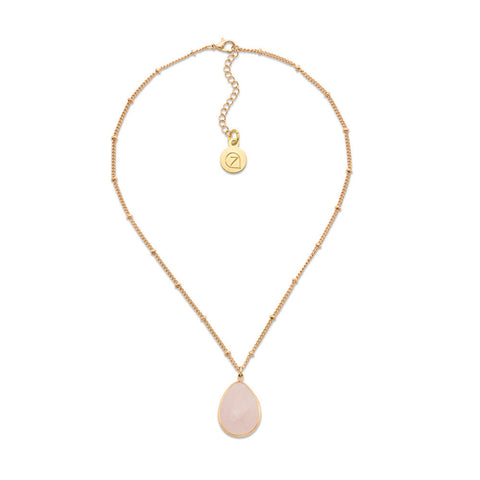 Pink Teardrop Simulated Stone Pendant Gold Beaded Chain Necklace | 7 Charming Sisters