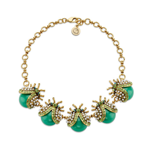 Green and Gold Jeweled Bug Collar Necklace | 7 Charming Sisters
