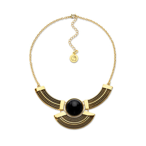 Cheap Gold and Black Bib Choker Statement Necklace | 7 Charming Sisters