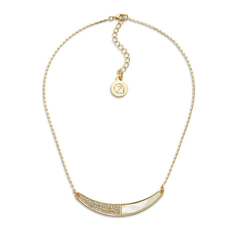 Cheap Thin Gold Crystal Choker Crescent Pendent Necklace for Women | 7 Charming Sisters