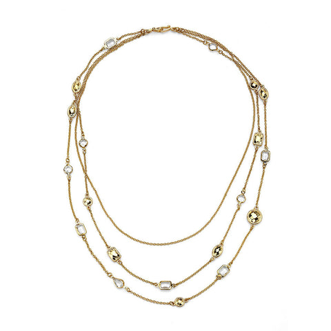 Cheap Best Long Three Layered 10k Gold-Plated Crystal Necklace | 7 Charming Sisters