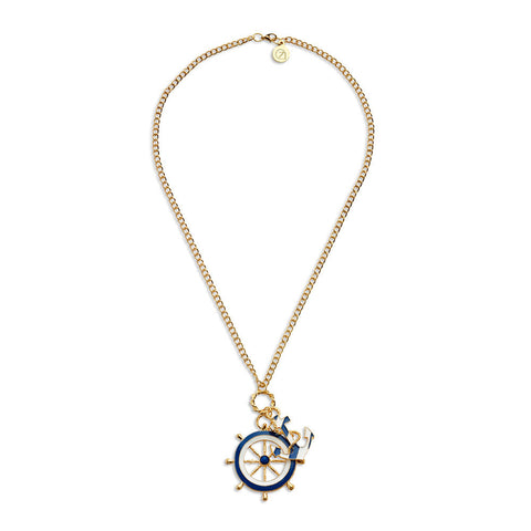 Best Long Gold Anchor and Wheel Pendant Necklace | 7 Charming Sisters