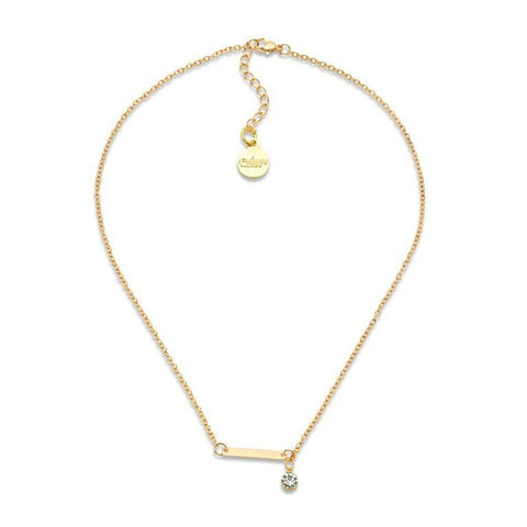 Gold Bar Lariat Circle Drop Pendant Necklace | 7 Charming Sisters