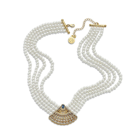 Multi Strand Pendant Pearl Necklace