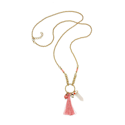 Cheap Gold and Pink Crystal Tassel Necklace | 7 Charming Sisters