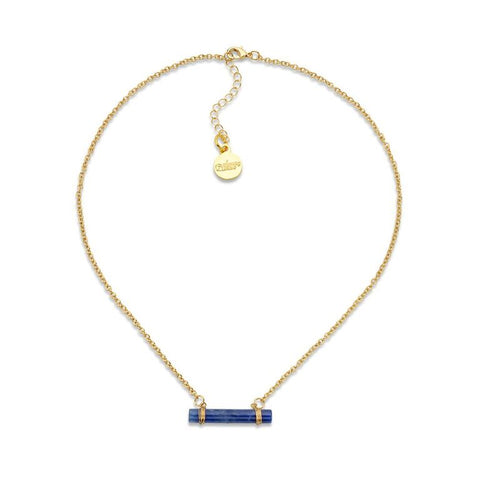 Lapis Lazuli Suspended Barrel Pendant Gold Plated Necklace | 7 Charming Sisters