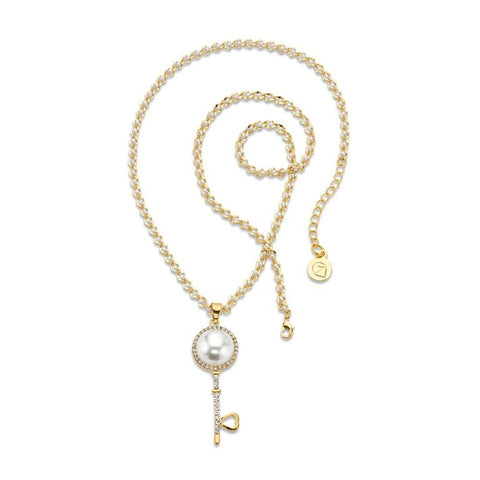 Gold Plated Pave Pearl Key Pendant Necklace | 7 Charming Sisters