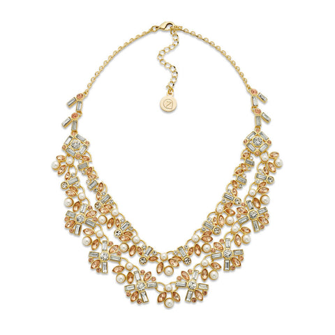 Multi-Layered Pearl and Crystal Gold Necklace