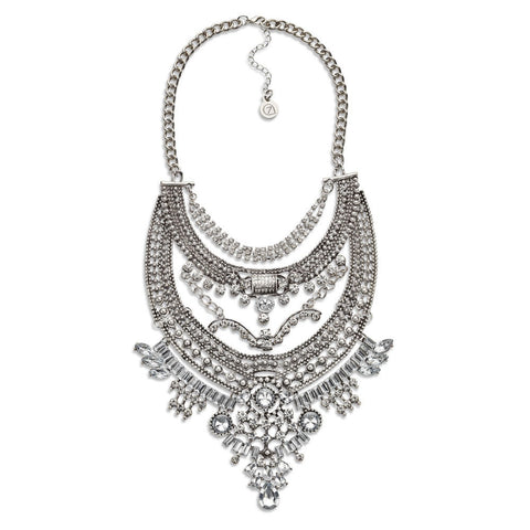 Best Layered Silver Crystal Bib Statement Necklace | 7 Charming Sisters