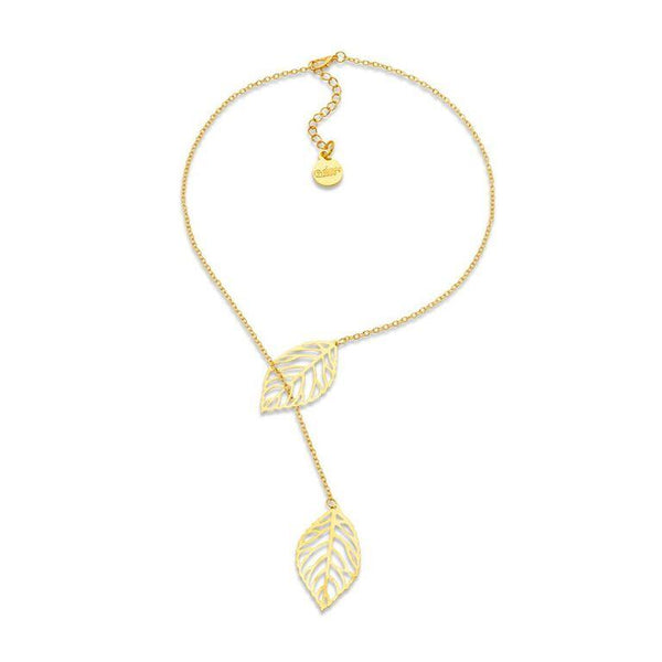 Gold Silver Adjustable Double Leaf Lariat Pendant Necklace | 7 Charming Sisters