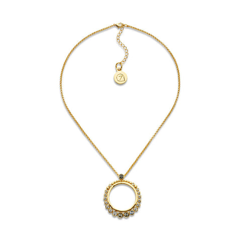 Best Crystal and Gold Circle Pendant Necklace | 7 Charming Sisters