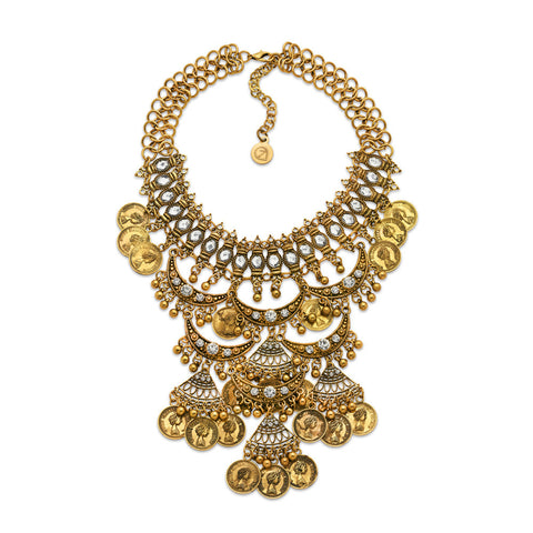 Cheap Gold Crystal Bib Statement Necklace for Women | 7 Charming Sisters