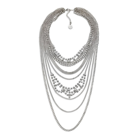Cheap Silver Multi-Layered Chain Necklace