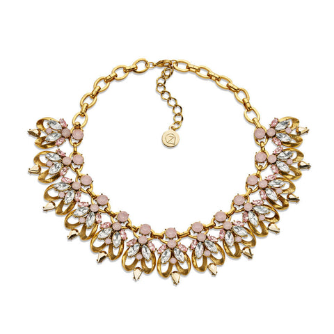 Pastel Crystal Bib Statement Necklace