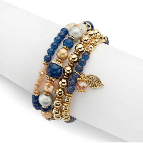Gold and Blue Stackable Bracelets