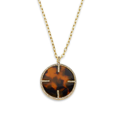 Brown Tortoiseshell Pendant Necklace