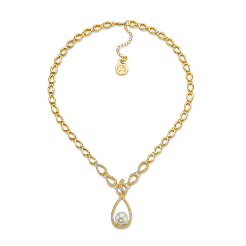 Pearl and Gold Drop Necklace
