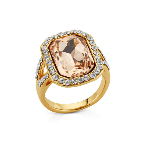 Pin Up Champagne Crystal Cut Cocktail Ring