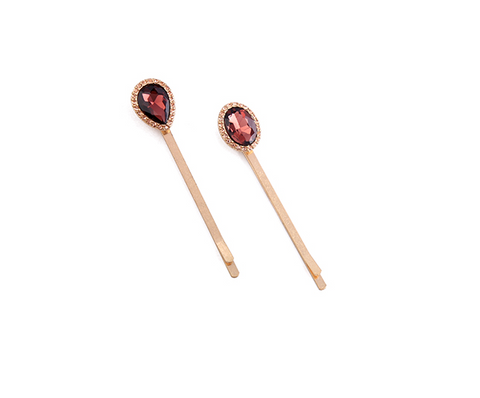 Rose Gold Crystal Burgundy Red Stone Hair Pins Statement Accessories | 7 Charming Sisters