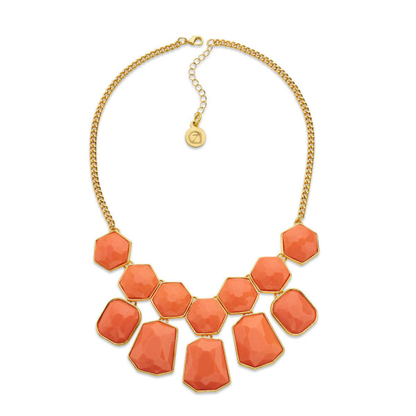 Cheap Orange and Gold Statement Necklace | 7 Charming Sisters