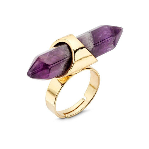 Purple Amethyst Diamond Shaped Pendant Atop Gold Plated Metal Band Statement Ring | 7 Charming Sisters