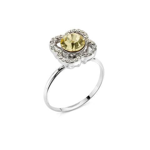 Yellow Crystal Floral Ring