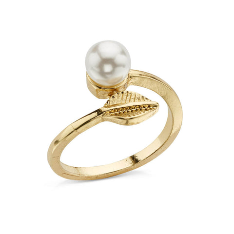 Pearl Leaf Wrap Ring