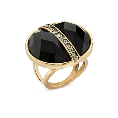 black crystal cocktail ring