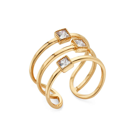 Triple Banded Crystal 14k Gold-Plated Ring | 7 Charming Sisters
