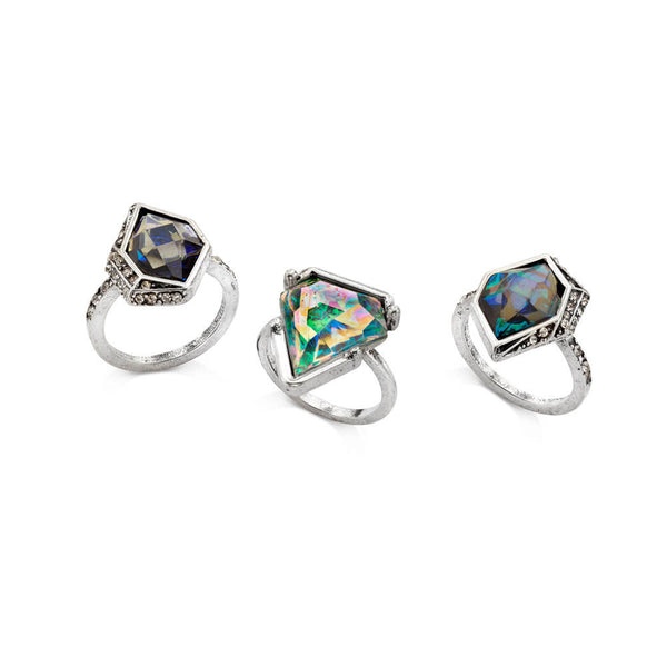 Cheap Blue Flower Silver Stone Crystal Ring Set | 7 Charming Sisters