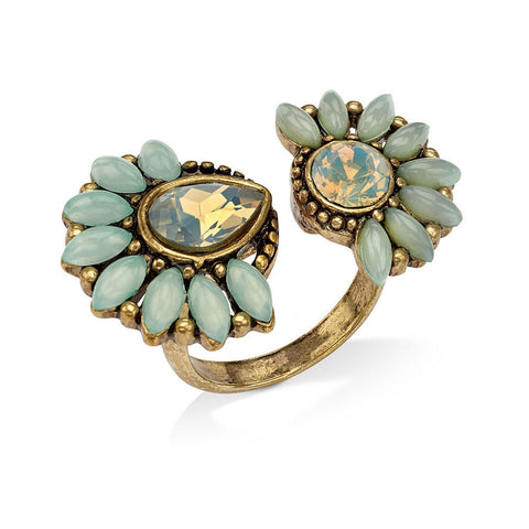 Best Natural Gold and Green Rhinestone Crystal Ring | 7 Charming Sisters