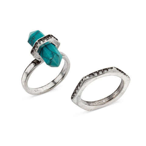 Turquoise on Point Ring Set