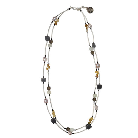 Long Glass Beaded Handmade Necklace