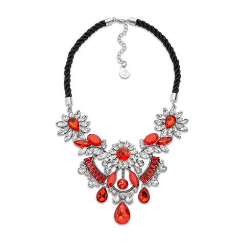 Rope Link Red Crystal Bib Necklace