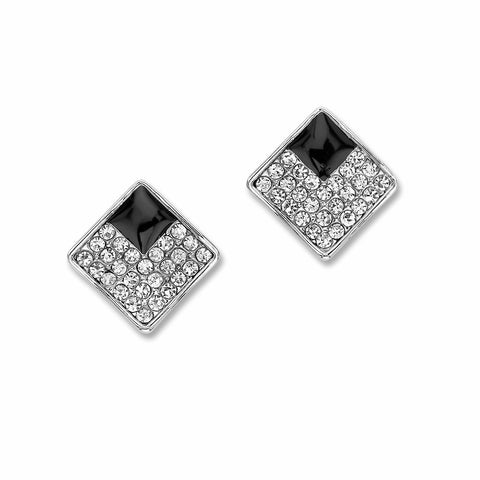 Two Tone Pave Square Stud Earrings