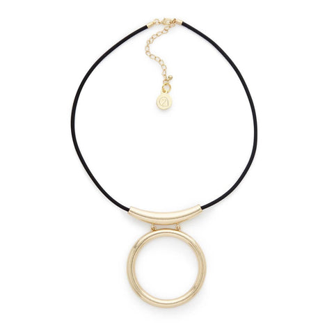 Gold Hoop Pendant Necklace