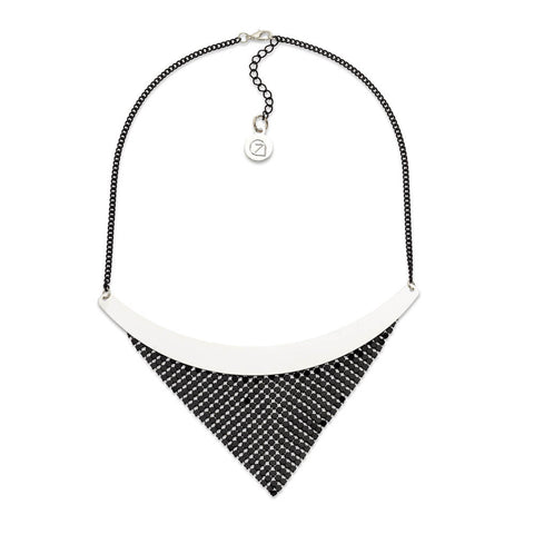 Black Fringe Bib Necklace