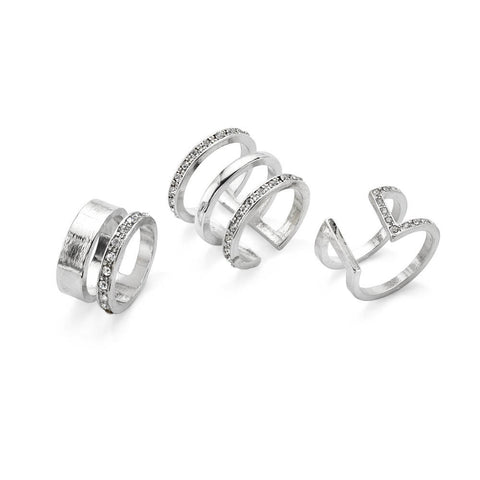 Silver Crystal Stacking Ring Set