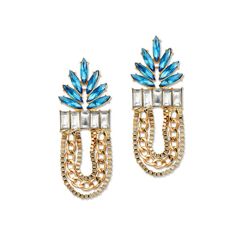 blue and gold crystal statement earrings