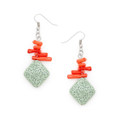 Cheap Coral and Silver Pendent Drop Earrings | 7 Charming Sisters