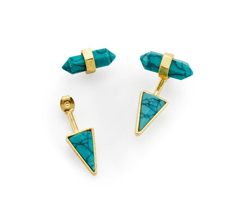 Cheap Geometric Triangle Turquoise Drop Earring with Gold Jackets | 7 Charming Sisters