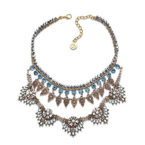 Boho Blue Crystal Silver Pendant Bib Statement Necklace | 7 Charming Sisters