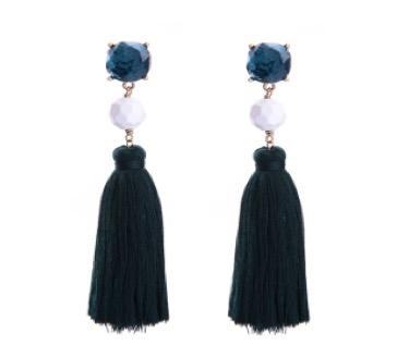 Blue White Fringe Tassel Drop Earrings | 7 Charming Sisters