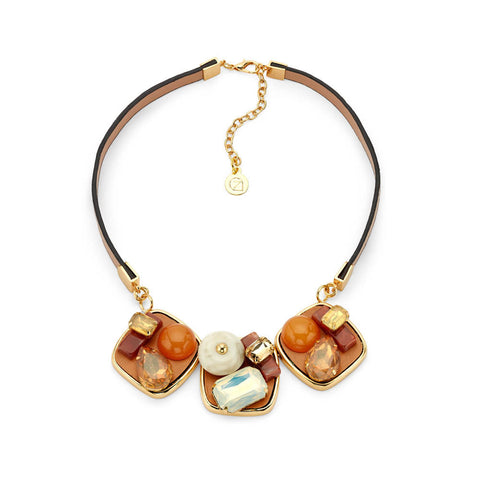 Cheap Leather Gemstone Choker Statement Necklace Orange and Brown Pendent | 7 Charming Sisters