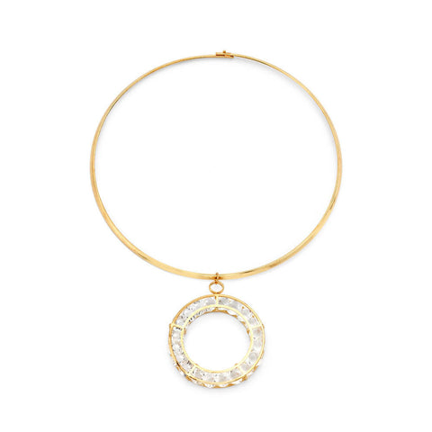 Thin Gold Crystal Pendent Choker Necklace | 7 Charming Sisters