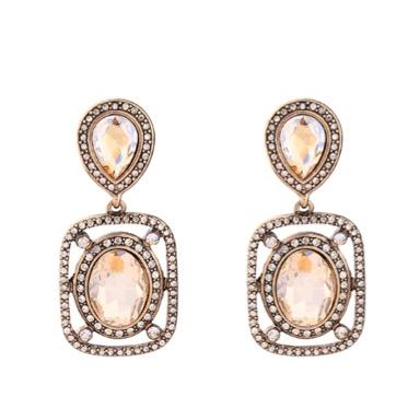 Amber Crystal Antique Gold Statement Drop Earrings | 7 Charming Sisters